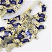 Printed Alloy Pendants, Sock, Light Gold, DarkSlateBlue, 22.5mm long, 14mm wide, 3mm thick, hole: 2mm.