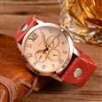 Quartz Watch, with Glass Watch Face, FireBrick, 220x22mm; Watch Head: 49x45x16mm; Watch Face: 36mm(WACH-O005-18B)