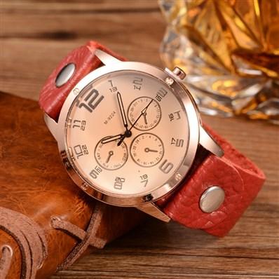 Quartz Watch, with Glass Watch Face, FireBrick, 220x22mm; Watch Head: