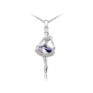 Ballet Girl Real Platinum Plated Alloy Austrian Crystal Pendant Sweate