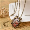 Brass Pattern Printed Glass Pendant Necklaces, with Iron Chains and Lobster Clasp, Oval with Bird, Antique Bronze, 18.9