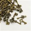 Tibetan Style Pendants, Assorted Key, Antique Bronze, 6.5~25.5mm wide, 16~75.5mm long, 1~5mm thick, hole: 1~4mm