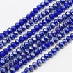 Electroplate Opaque Solid Color Crystal Glass Abacus Beads Strands, Faceted, AB Color Plated, Blue, 4x3mm, Hole: 1mm; about 135pcs/strand, 17.9