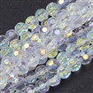 Handmade Glass Facted Round Beads, AB Color Plated, White, about 8mm in diameter, hole: 1mm, about 40pcs/strand, 13