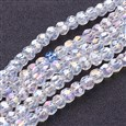 Glass Beads Strands, Clear, AB Color Plated, about 6mm in diameter, hole: 1mm(GF6MM01Y-AB)