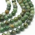 Natural African Jade Beads Strands, Round, Grade AB,DarkSeaGreen, 6mm, Hole: 1mm; about 61pcs/strand, 15.3