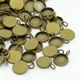 Brass Pendant Cabochon Settings, Antique Bronze, 14mm in diameter, 2mm thick, hole: 3mm; tray: 12mm(KK-H280-01AB)