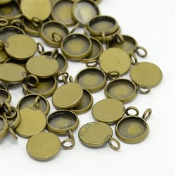 Brass Pendant Cabochon Settings, Antique Bronze, 14mm in diameter, 2mm thick, hole: 3mm; tray: 12mm