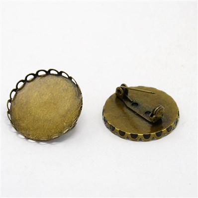 Antique Bronze Brass Flat Round Cabochon Base Settings with Pins, Size