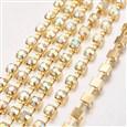 Brass Rhinestone Strass Chains, Rhinestone Cup Chain, 1440pcs rhinestone/bundles, Grade A, Crystal AB, chains 3mm wide(CHC-S12-12C)