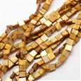 Dyed Square Natural Freshwater Shell Beads Strands, DarkOrange, 8~9mm wide, 8~9mm long, 3~4mm thick, hole: 1mm(SHEL-E355-07C)