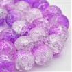 Two Tone Dyed Silver Drawbench Crackle Glass Round Bead Strands, DarkViolet, 10mm in diameter, hole: 1mm