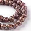Handmade Goldsand Lampwork Round Bead Strands, Thistle, 10mm in diameter, hole: 1~2mm, approx 31~34 beads / strand, 12.6