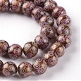 "Handmade Goldsand Lampwork Round Bead Strands, Thistle, 10mm in diameter, hole: 1~2mm, approx 31~34 beads / strand, 12.6""(K-LAMP-UK0001-04D)"