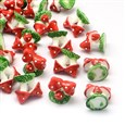 Mushroom Resin Cabochons, Imitation Food, Red, 18mm long, 19mm in diameter, bottom: 14.5mm(CRES-R183-06D)