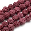 Natural Lava Beads Strands, Dyed, Round, Brown, 8~9mm, Hole: 1mm; about 48pcs/strand, 15.1