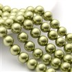 Shell Pearl Beads Strands, Grade A, Polished, Round, YellowGreen, 10mm in diameter, hole: 0.8~1.0mm