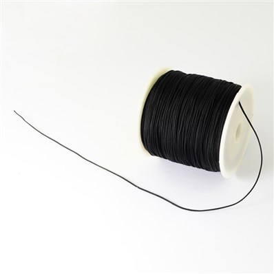 Braided Nylon Cord, Imitation Silk String Thread, Black, 0.5mm; about