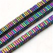 Non-magnetic Hematite Beads Strands, Frosted, Square, Multi-color Plated, 3mm in diameter, 1mm thick, hole: 1mm