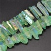 Electroplated Natural Quartz Crystal Beads Strands, AB Color, Dyed, Nuggets, Tusk Shape, LightGreen, 7~15mm wide, 18~60mm long, hole: 1mm