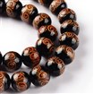 Handmade Goldsand Lampwork Bead Strands, Round, Chocolate, 12mm in diameter, 11mm thick, hole: 1~1.5mm, approx 27~30 beads / strand