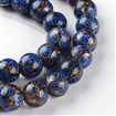 Handmade Goldsand Lampwork Round Bead Strands, RoyalBlue, 10mm in diameter, hole: 1~2mm, approx 31~34 beads / strand, 12.6