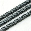 Non-magnetic Hematite Beads Strands, Frosted, Square, Black Plated, 3mm in diameter, 1mm thick, hole: 1mm