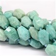 Natural Amazonite Beads Strands, Faceted, Nuggets, 14~20mm wide, 18~28mm long, hole: 1mm, approx 14~16 beads / strand(K-G-UK0009-07F)