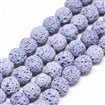 Natural Lava Beads Strands, Dyed, Round, MediumSlateBlue, 8~9mm, Hole: 1mm; about 48pcs/strand, 15.1