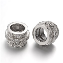 Brass Micro Pave Cubic Zirconia Beads, Large Hole Drum Beads, Lead Free & Nickel Free, Platinum, 10.5mm wide, 7mm thick, hole: 6mm