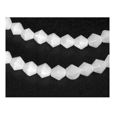 Glass Beads Strands, Imitation Jade, Bicone, Milk White, 4mm, approx 8