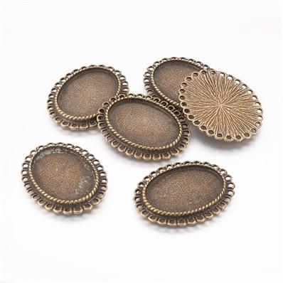 Tibetan Style Chandelier Link Cabochon Settings,Oval, Antique Bronze C