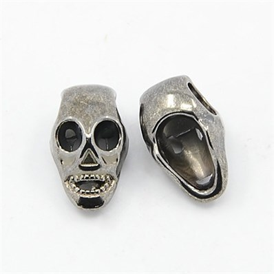European Style Beads, Lead Free and Nickel Free, Halloween, Skull, Bla
