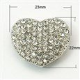 Alloy Rhinestone Multi-Strand Links, Lead Free, Grade A, Heart, Platinum, 23mm wide, 22mm long, 7mm thick, hole: 2mm(RB-C1512-01P-LF)