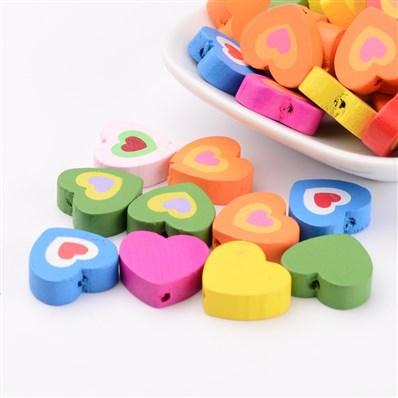 Wood Beads, Lead Free, Dyed, Heart, Mixed Color, 17mm long, 18mm wide,
