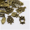 Tibetan Style Pendants, Owl, Antique Bronze,t 9.5~40mm wide, 14~60mm long, 1~5.5mm thick, hole: 1~3mm
