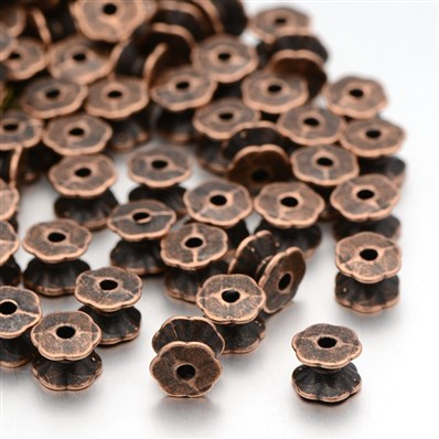 Tibetan Style Cap Spacers, Lead Free and Nickel Free, Red Copper Color