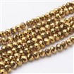 Electroplate Glass Beads Strands, Faceted, Abacus, Golden Plated, 10mm in diameter, 7mm thick, hole: 1mm, approx 72 beads / strand, 18