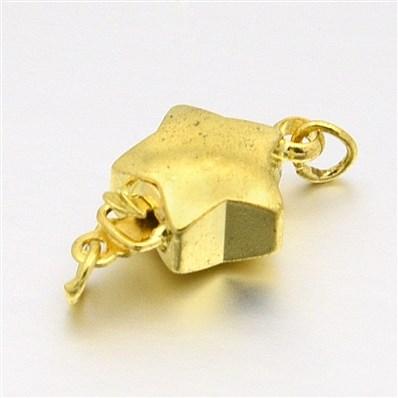 Golden Tone Brass Box Clasps, Star, 10mm wide, 15mm long, hole: 1~2mm