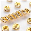 Middle East Rhinestone,Clear, Brass, Golden Metal Color, Nickel Free, 7x3.2mm