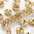 "Brass Rhinestone Beads, Grade ""B"", Clear, Golden(RSB030-B01G)"
