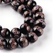Handmade Goldsand Lampwork Bead Strands, Round, Plum, 12mm in diameter, 11mm thick, hole: 1~1.5mm, approx 27~30 beads / strand, 13.4