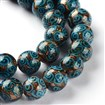 Handmade Goldsand Lampwork Round Bead Strands, DeepSkyBlue, 10mm in diameter, hole: 1~2mm, approx 31~34 beads / strand, 12.6