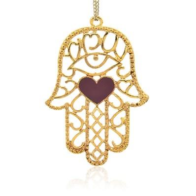 Golden Tone Alloy Enamel Big Pendants, Hamsa Hand with Heart, OldRose,