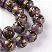 Handmade Goldsand Lampwork Round Bead Strands, MediumPurple, 12mm in diameter, hole: 1~2mm, approx 27~30 beads / strand