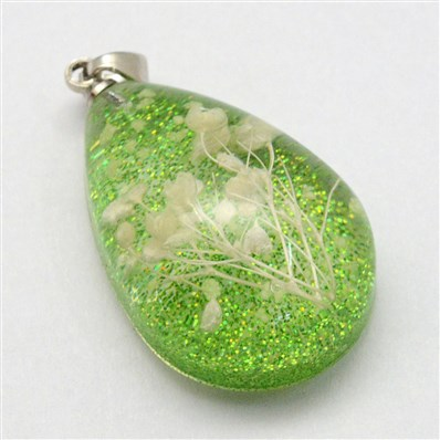 Luminous Resin Pendants, Drop, with Dried Flower inside and Platinum T