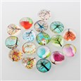Tree of Life Printed Half Round/Dome Glass Flatback Cabochons, Mixed Color, 12x4mm(K-X-GGLA-A002-12mm-GG)