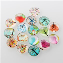 Tree of Life Printed Half Round/Dome Glass Flatback Cabochons, Mixed Color, 12x4mm