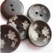 2-hole Flower Carved DIY Buttons, Wooden Buttons, Black Brown, 20mm in diameter