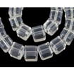 Pearlized Glass Beads Strands, Clear, Cube, 6x6x6mm